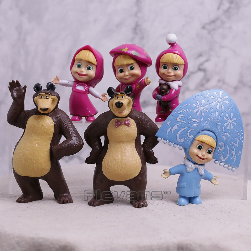 Masha & The Bear Masha and Bear Painter Snow Maiden PVC Action Figures Toys Gifts for Kids Children 6pcs/set 6.5~10cm
