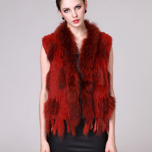 2016 Genuine Real Knitted Rabbit Fur Vest Waistcoat Raccoon Fur Collar with Tassels Women Fur Gilet Lady Outerwear Coats VF0540