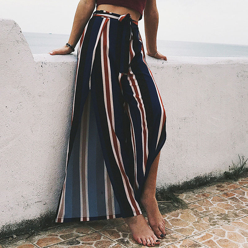 Women Chiffon   Wide     Leg     Pants   High Waist Elastic Boho Beach Loose Trousers Summer Sashes Split Striped Casual Culottes Pantalones