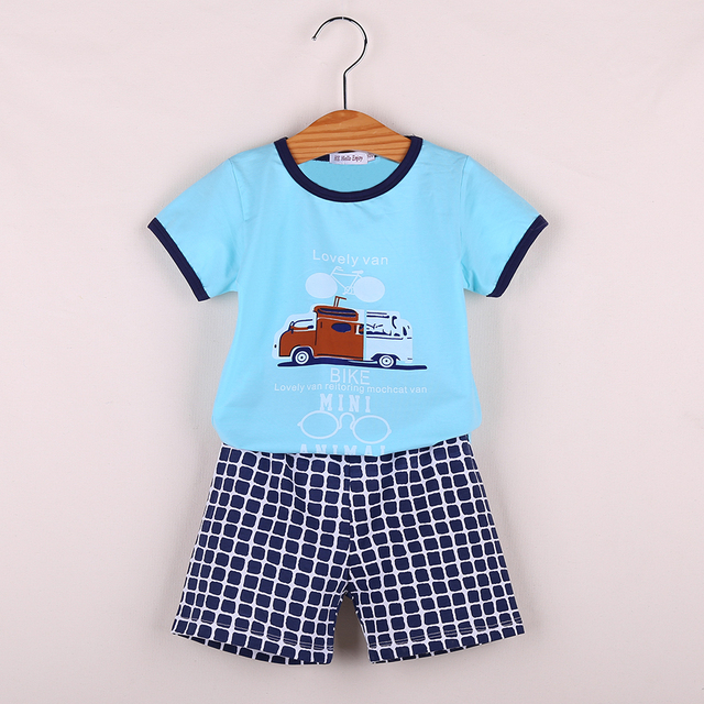 26ccf4abd HE Hello Enjoy Kids Clothes Boys Sets Baby summer T shirt+plaid ...