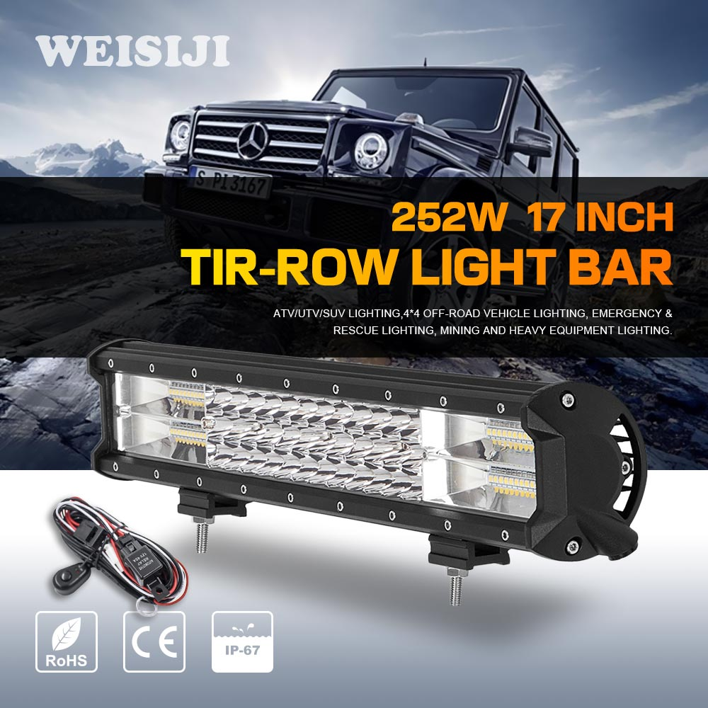WEISIJI 1Pcs Tri-Row 252W LED Light Bar with High Intensity Chips 17inch Offroad Work Light for Jeep Ford Truck Ship SUV ATV UTV видеоигра бука saints row iv re elected