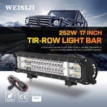 WEISIJI 1Pcs Tri-Row 252W LED Light Bar with High Intensity Chips 17inch Offroad Work Light for Jeep Ford Truck Ship SUV ATV UTV