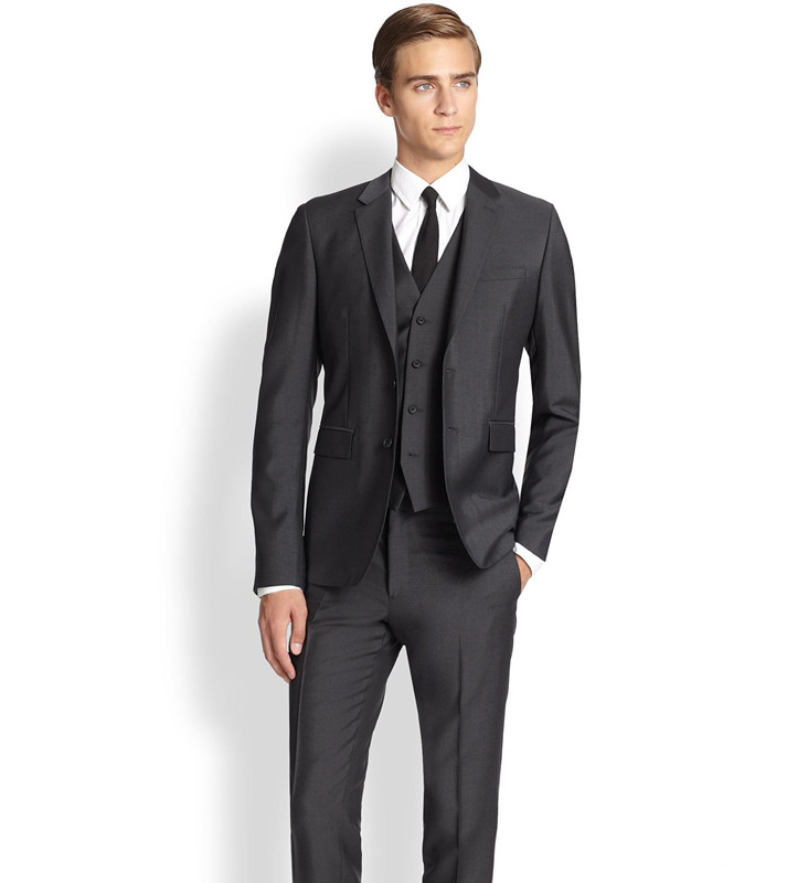 Bespoke Charcoal Wedding Suits Formal Dinner Party Blazer Groom Business Tuxedos