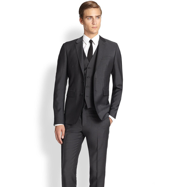 New Arrival Men Blazer Business Prom Grey Charcoal Party Suits Wedding For Tuxedos Groom