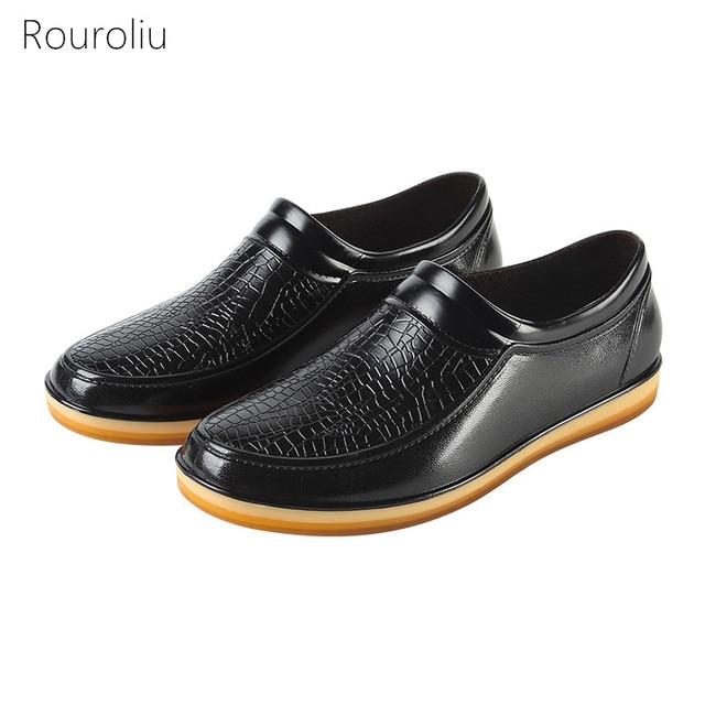8b346f3629 Rouroliu Moda Imitação de Couro Não-Slip de Cozinha Trabalhar Sapatos  Homens Tornozelo Sapatos de