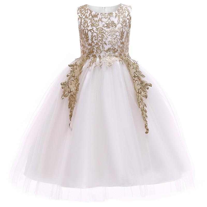 790f33991 Bebé niñas bordado de hilo dorado elegante vestido de fiesta para niñas  vestido de boda vestidos de niños para niño Niñas Ropa de Navidad