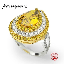 PANSYSEN Luxury Water Drop Yellow Citrine Rings For Women Real 925 Sterling Silver Jewelry Wedding Party Ring Wholesale Gifts