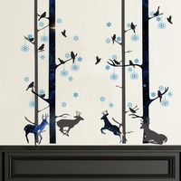 Yanqiao Creative Deer Birds Forest Pattern Wall Decals For Home Living Room Office Sofa TV Background