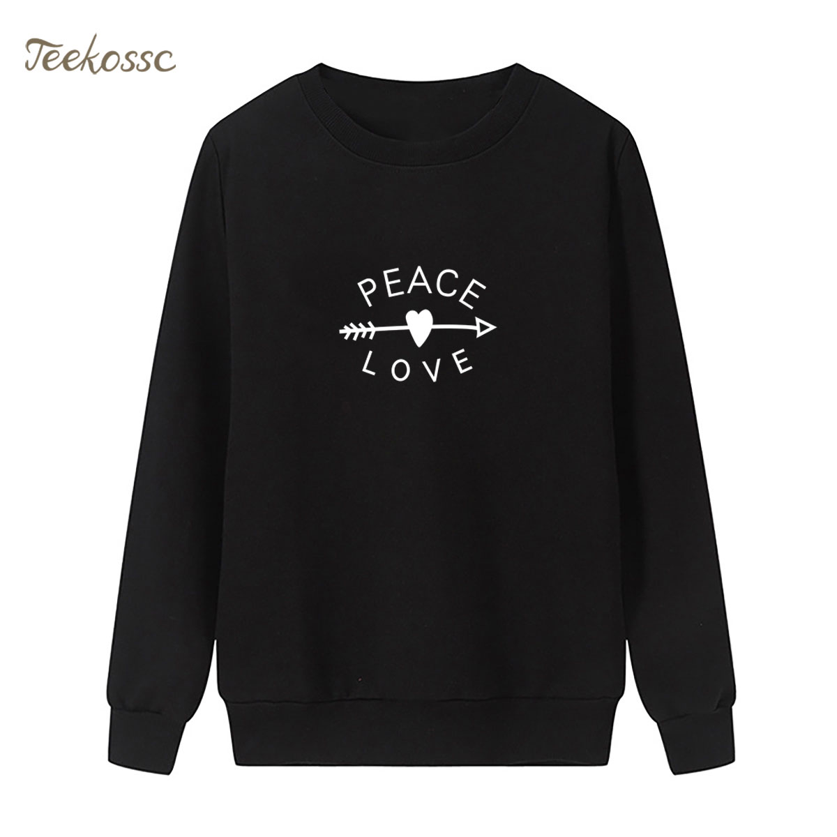 Arrow Heart Long Sleeve Sweatshirt  PEACE & LOVE Print Hoodie 2018 Winter Autumn Women Lasdies Pullover Loose Fleece Streetwear