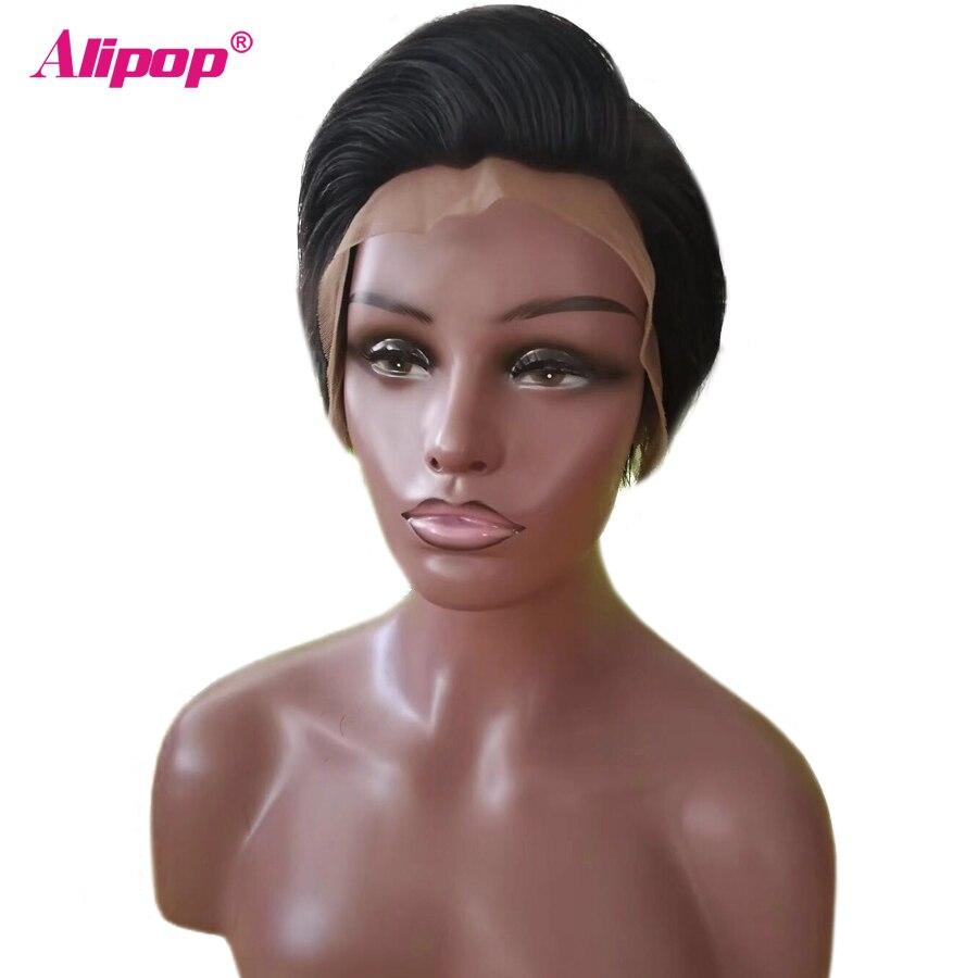 Alipop Glueless Short Human Hair Wigs Pre Plucked Brazilian Remy Hair Lace Front Human Hair Wigs