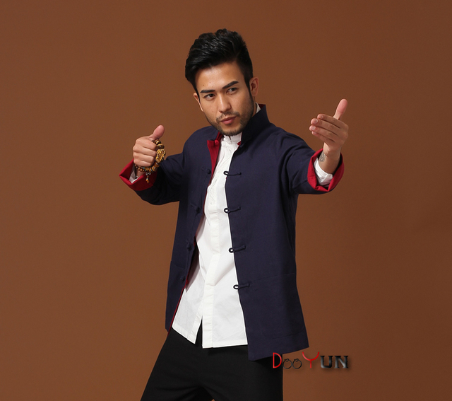 Hot Selling Chinese Men's Kung Fu Jacket Reversible Two-Face Linen Coat Men's Cotton Outerwear S M L XL XXL XXXL