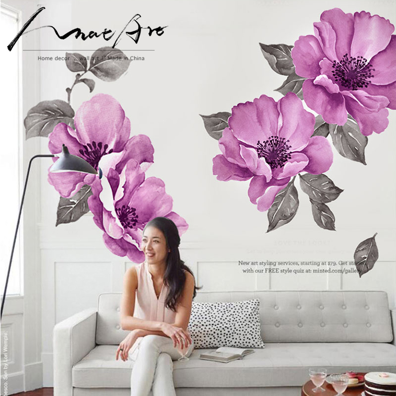 Us 16 0 Purple Floral Sticker Wall Art Watercolor Wallpaper Mural Diy Bedroom Decor Nordic Home Decor Kids Baby Room Decoration Painting In Wall
