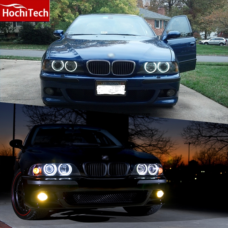 HochiTech high quality Day Light DRL CCFL Angel Demon Eyes Kit Warm White Halo Ring 127.5mm*4 for BMW 5 series E39 OEM 2001-2003 free shipping ccfl angel eyes for bmw e90 e90 non projector halo ring e90 ccfl angeleyes lights