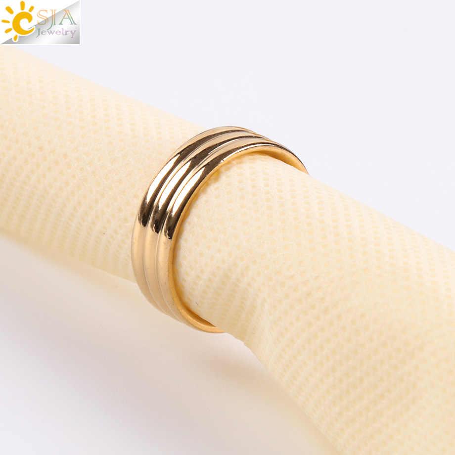CSJA กว้าง 6 มม.สีทองแหวนสแตนเลสการหมุนเรียบออกแบบแหวนสำหรับ Man Woman แฟชั่นเครื่องประดับ E931