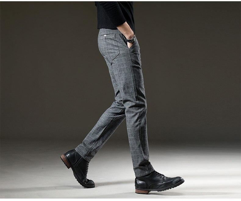 HTB1HbPscCzqK1RjSZFjq6zlCFXaZ Brand Men's winter Fleece Fluff Thicken warm Casual Pants men Business Straight Elastic Thick Plaid cotton gray trousers male