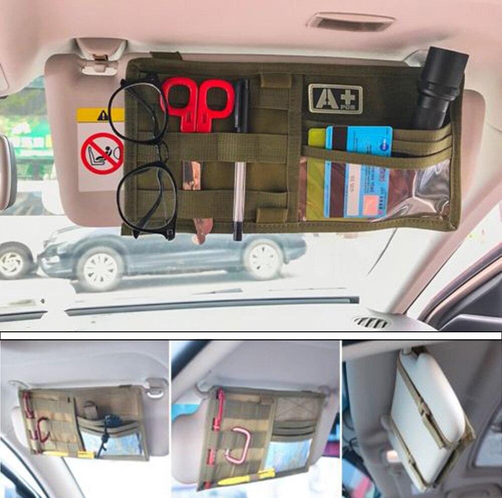 Tactical Multi-pocket Visor Panel Car Sun Visor Organizer CD Bag Auto Accessories For MOLLE Travel Kits box clutch purse