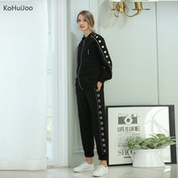 KoHuiJoo 2017 Autumn Ranway Pants Suit For Women White Black Fashion Zipper Blazer Jacket Pants Set