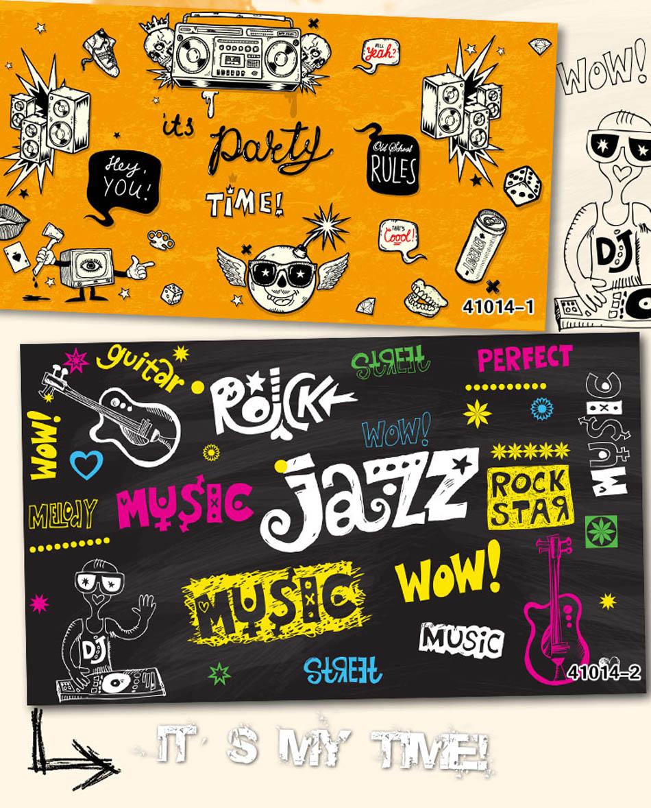 Wahable Shinehome Grande Personalizado Papel De Parede Rock N Roll  -> Papel De Parede Para Sala Rock N Roll