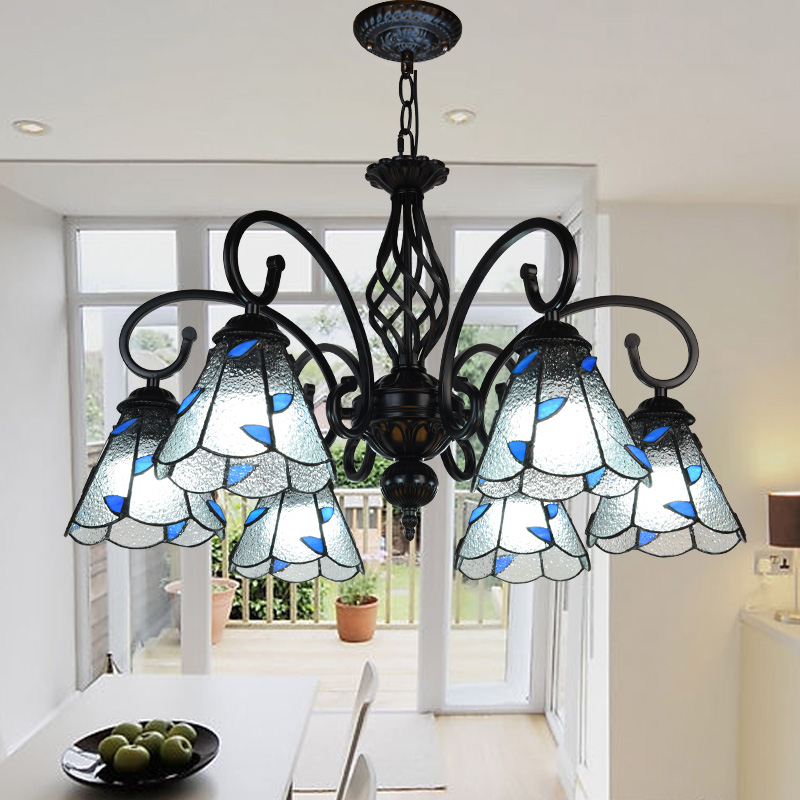 Mediterranean Tiffany Baroque Stained Glass Suspended Luminaire E27 Chain Pendant Lights Parlor Dining Room Hanging Lighting
