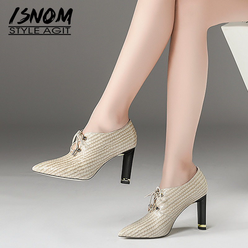 ISNOM 2019 Spring Emboss High Heels Women Pumps Cross Tied Pointed Toe Footwear Leather Lady Shoes Fashion Office Shoes WomanISNOM 2019 Spring Emboss High Heels Women Pumps Cross Tied Pointed Toe Footwear Leather Lady Shoes Fashion Office Shoes Woman