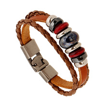 Fashion Leather Alloy Buckles Bracelets Handmade Leather Brown Beaded Bangles Punk Braided Wooden Beads Bracelet Unisex Jewelry