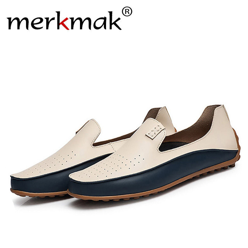 Merkmak Trendy Men Casual Big Size 38-47 Shoes Brand Summer Holes Driving Loafer Breathable Man Soft Footwear Shoes Wholesale men luxury brand new genuine leather shoes fashion big size 39 47 male breathable soft driving loafer flats z768 tenis masculino