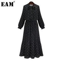 [EAM] Новинка весны с длинными рукавами и круглым вырезом сплошной черный шифоновое в горошек Свободные Большой Размеры платье Для женщин моды прилив JA23601M