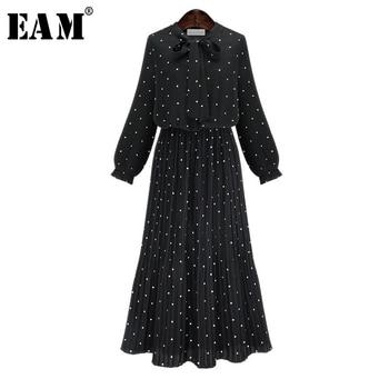[EAM] 2020 New Spring Round Neck Long Sleeve Solid Black Chiffon Dot Loose Big Size Dress Women Fashion Tide JA23601M 1