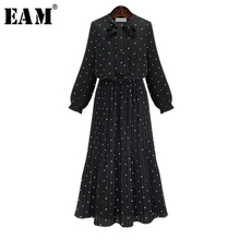 [EAM] 2021 New Spring  Round Neck Long Sleeve Solid Black Chiffon Dot Loose Big Size Dress Women Fashion Tide JA23601M