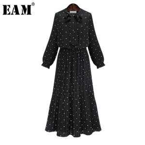 [EAM] 2020 New Spring Round Neck Long Sleeve Solid Black Chiffon Dot Loose Big Size Dress Women Fashion Tide JA23601M(China)