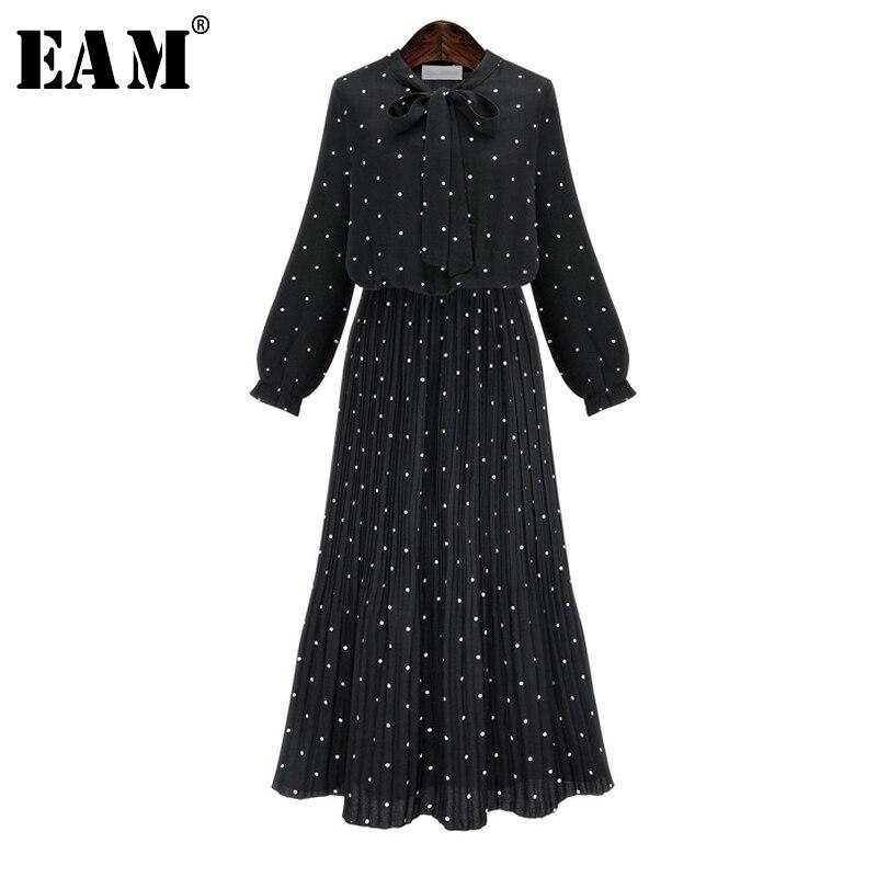 [EAM 2019 nueva primavera manga larga cuello redondo sólido negro gasa Dot suelto, de gran tamaño vestido de moda de las mujeres marea JA23601M