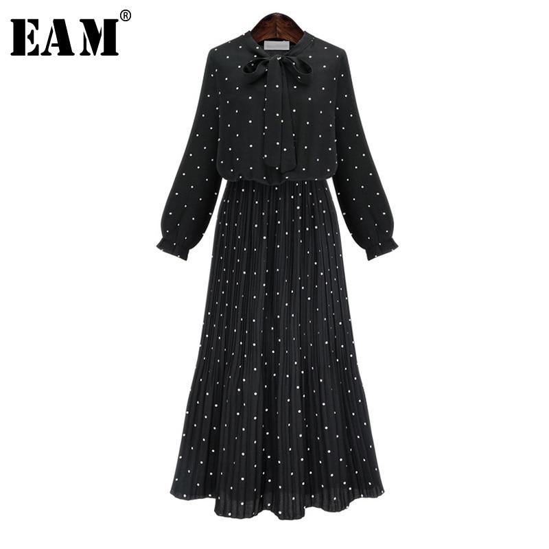 [EAM] 2020 New Spring  Round Neck Long Sleeve Solid Black Chiffon Dot Loose Big Size Dress Women Fashion Tide JA23601M