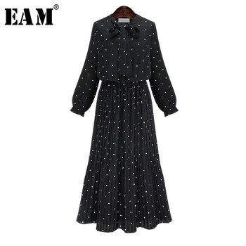 faa98748f148d  EAM  2018 New Autumn Round Neck Long Sleeve Solid Black Chiffon Dot Loose Big  Size Dress Women Fashion Tide JA23601M