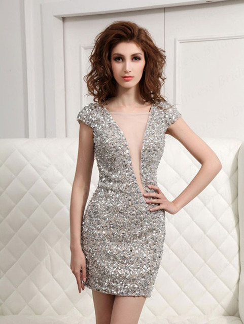Hot Sale Sliver Sequined Straight Cocktail Dresses 2017 Cap Sleeves V Neck Open Back Custom Made Mini Homecoming Dresses