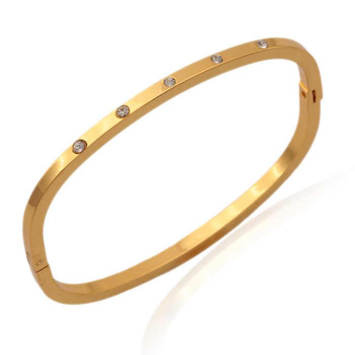 Kpop Mới Thời Trang Vàng Màu Áo Rhinestone Cuff Vòng Tay Chất Lượng Cao Bangles Đối Với Phụ Nữ Đồ Trang Sức Bán Buôn H5180
