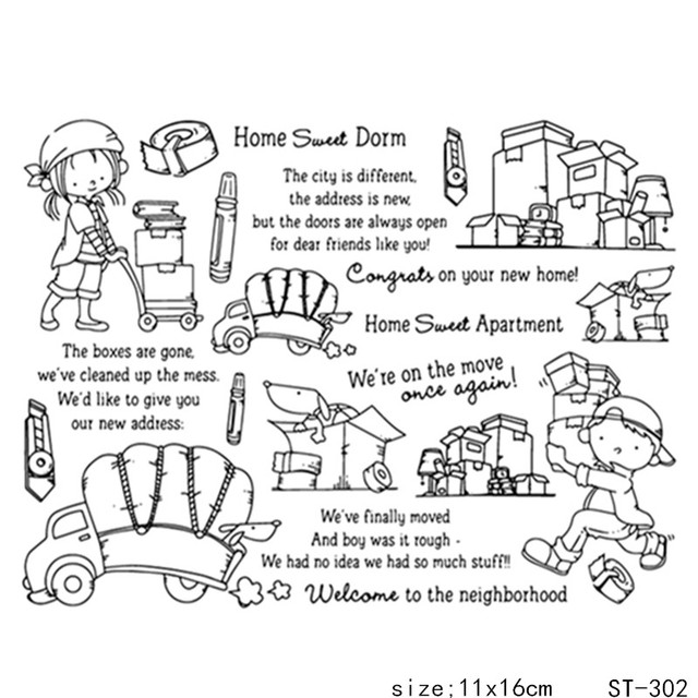 ZhuoAng House Moving Migration Style Clear Stamps Seals For DIY Scrapbooking Card Making