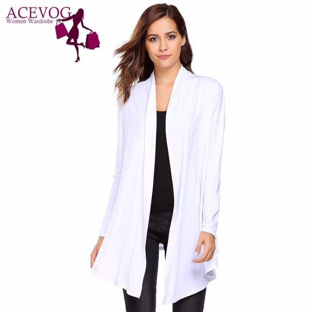 00ea9488ce placeholder ACEVOG Women s Open Front Long Sleeve Solid Knit Thin Cardigans  Spring Autumn Ladies Sweaters Fashion Simple