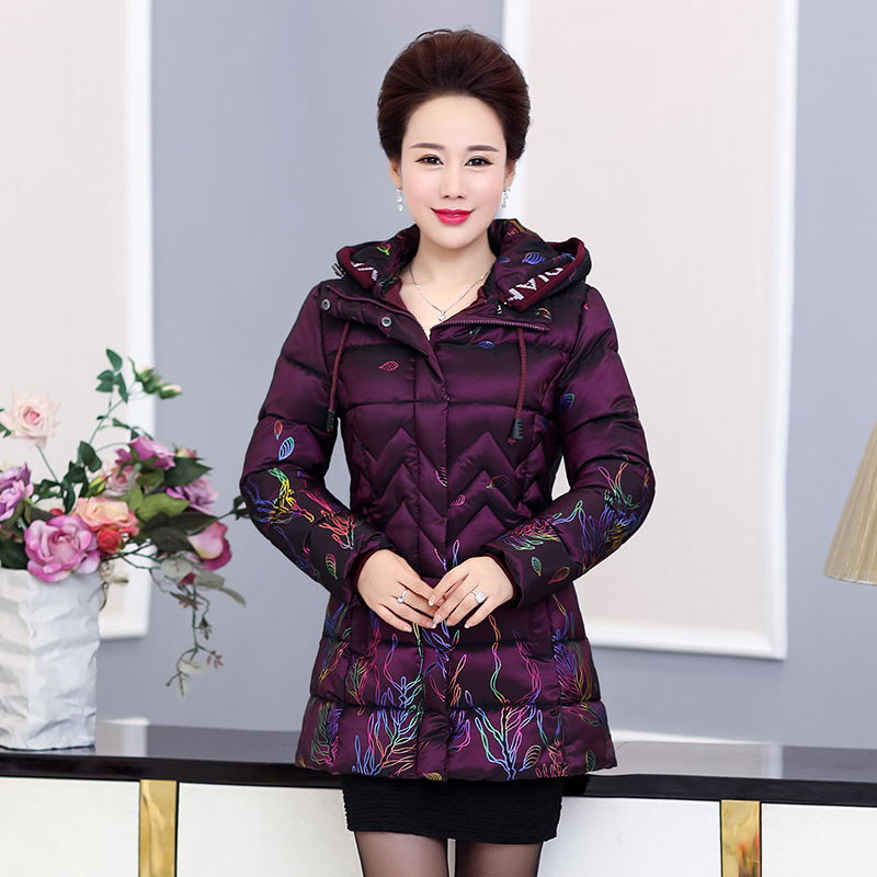 Middle-aged Women   Parka   Padded Jacket 2018 Winter New Mother's Coat Hooded Thickening Warm Pteris Printed Cotton-wadded Jacket