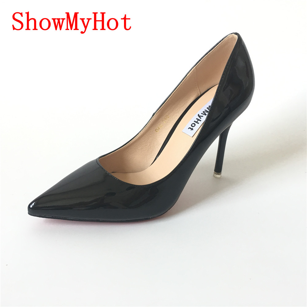 583f50b95d7 US $39.0 |ShowMyHot woman New Patent Leather Wedding Party Dress Shoes  female red black Pointed Toe Sexy Pumps Modern High Heels-in Women's Pumps  from ...