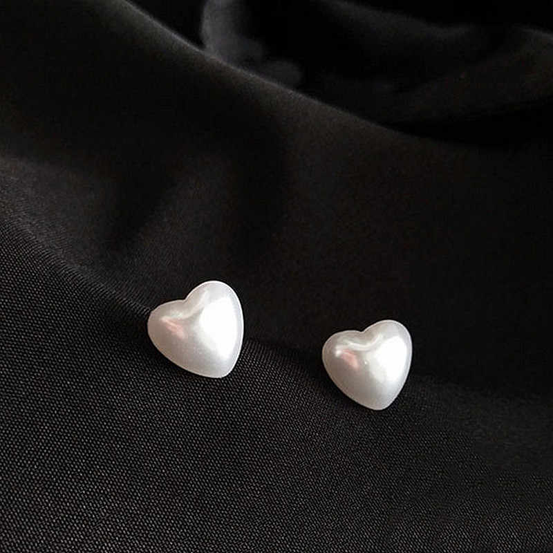 Bonitos pendientes de imitación de corazón, pendientes de botón de perlas, joyería de moda, pendientes para mujer, pendientes para mujer, joyería 2018, oferta
