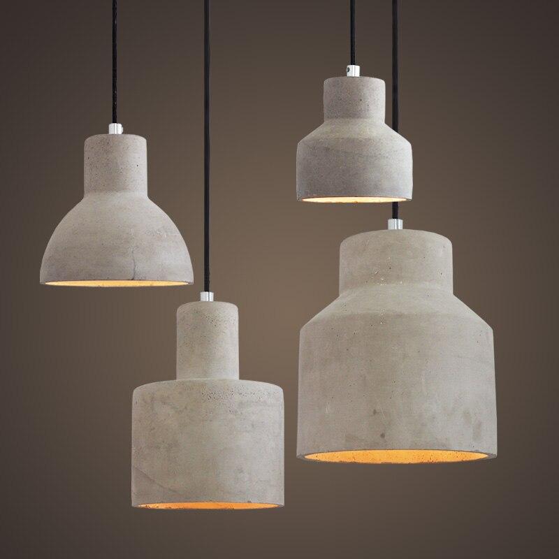 IWHD Cement Hang Lampen Vintage Lamp LED Pendant Light Loft Industrial Lighting Hanging Lights Bedroom Suspension Luminaire