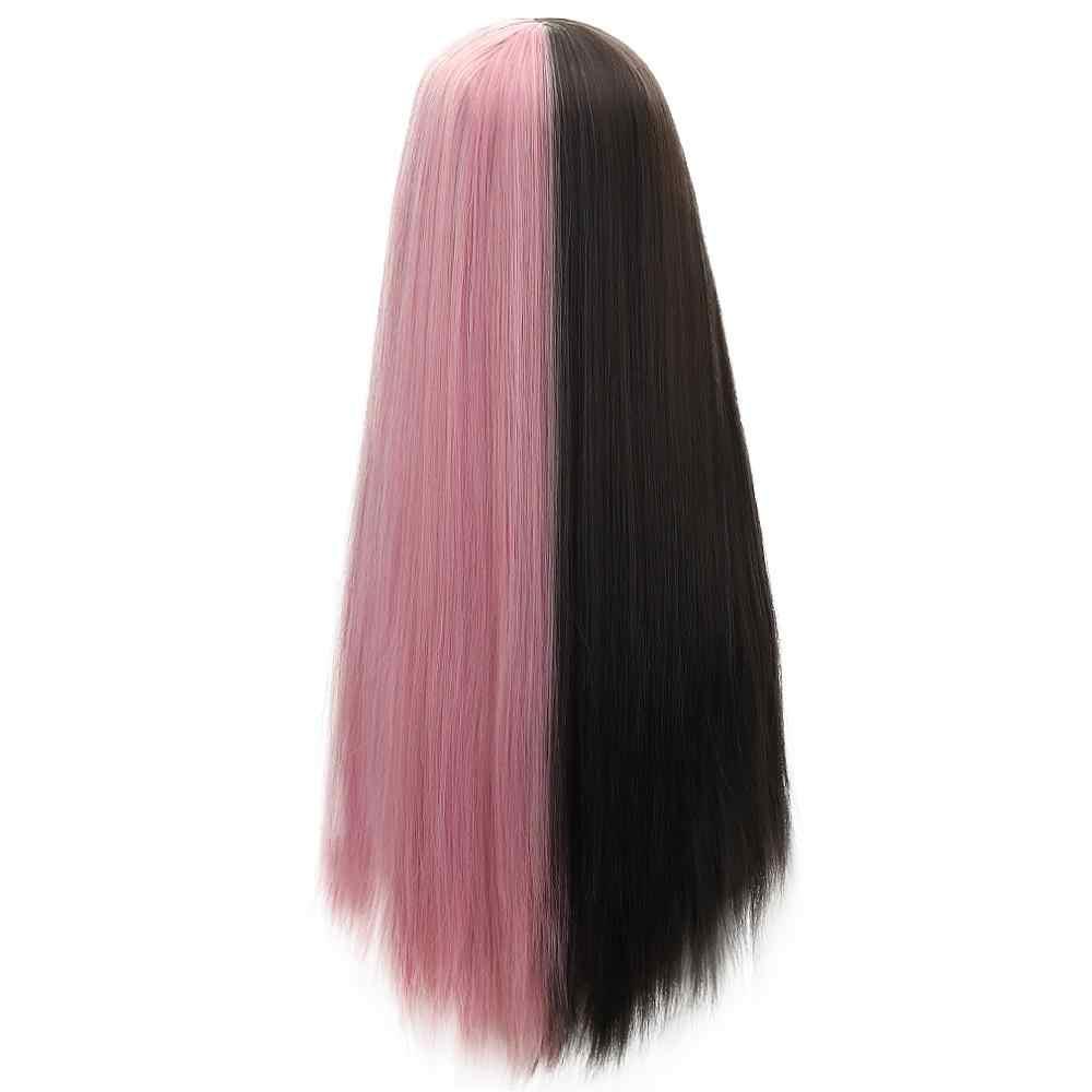 """26 """"synthetische Lolita Pruiken Met Pony Zwart Roze & Violet Roze Middelste Deel Lange Rechte Haar Custom Party Cosplay pruiken Voor Vrouwen"""