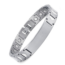 European and American Fashion Magnet Bending Bracelet Titanium Silver Magnetic Elements
