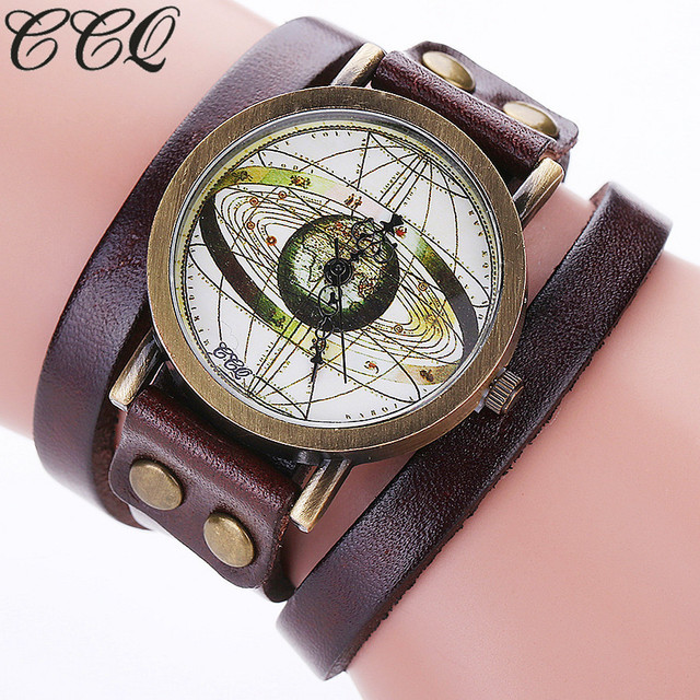 CCQ Brand Fashion Vintage Leather Antique World Map Watch Casual ...