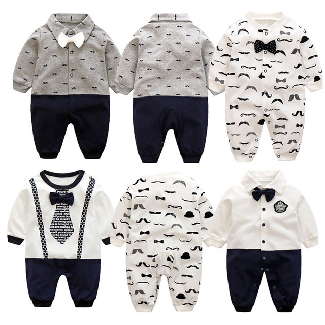f0770b22c Menino Cavalheiro Romper Bebê recém-nascido Calças Bow Tie Roupa Bonito  Confortável Material Macio Intant