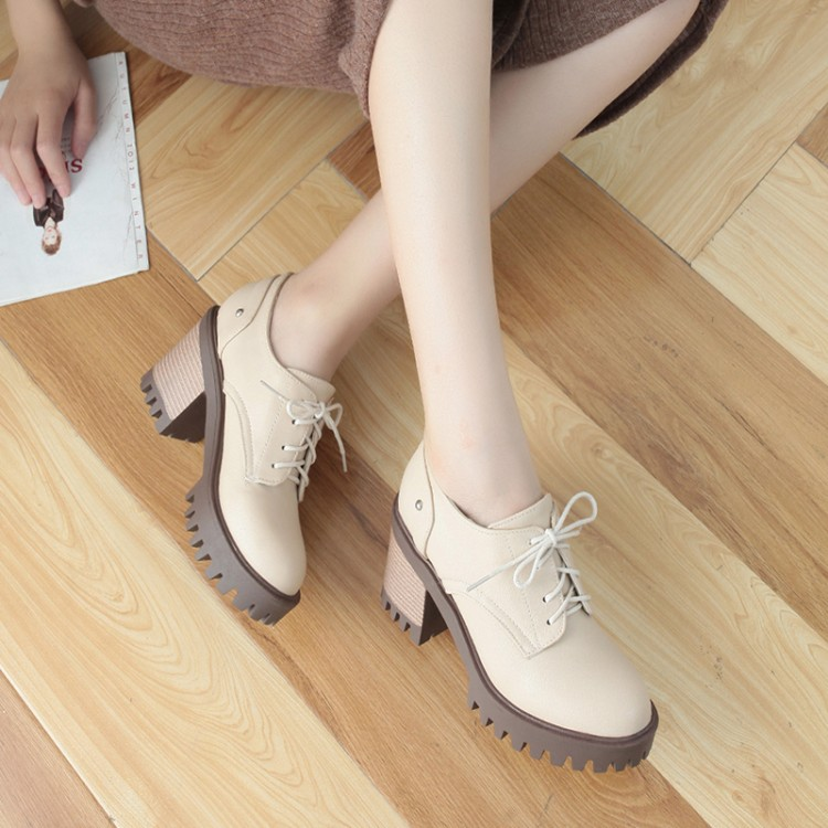 Fashion New Womens Brogue Shoes Lace Up Platform Pumps High Heels Size 40 41 42 43 aa0926 in Women 39 s Pumps from Shoes
