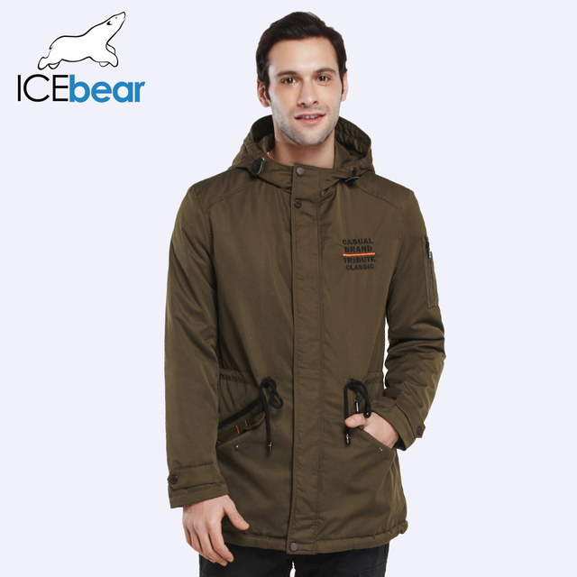 ICEbear 2017 Drawstring Design Tail Brand Thin Casual Cotton-Padded Jacket Men Warm Outwear Autumn Coat Men 17MC216D