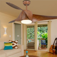 Retro Restaurant Chandelier Simple Antique Wood Leaves Industrial Wind Cafe Bar Remote Control Fan Lamp Free Shipping
