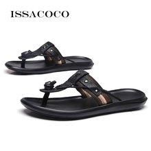 ISSACOCO Genuine Leather Womens Slippers Women Flip Flops High Quality Beach Sandals Non-slip Ladies Home