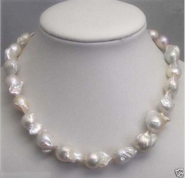 Offre spéciale nouveau Style>>>>> véritable énorme 18-28mm mer du sud blanc BAROQUE collier de perles 18